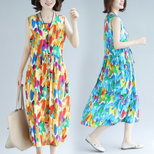 2019 New Vintage Summer Dress Vestidos Robe Loose O-neck Sleeveless Print Women Party Dresses