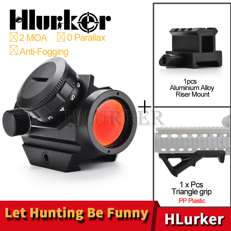Hlurker Hunting Airsoft M4 AR15 Air Rifle Red Dot Riflescope Spotting Scope Sight/20mm Picatinny Rail Scope Mount/Front Grip Gun