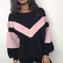 Новая теплая Женская плюшевая Толстовка с длинным рукавом, лоскутный пуловер, топы, толстовка, джемпер