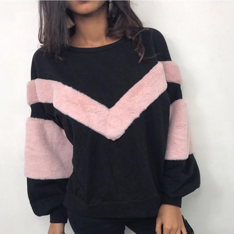 NEW Warm Women Plush Sweatshirt Stitching Long Sleeve Patchwork Pullover Tops Sweatshirt Jumper