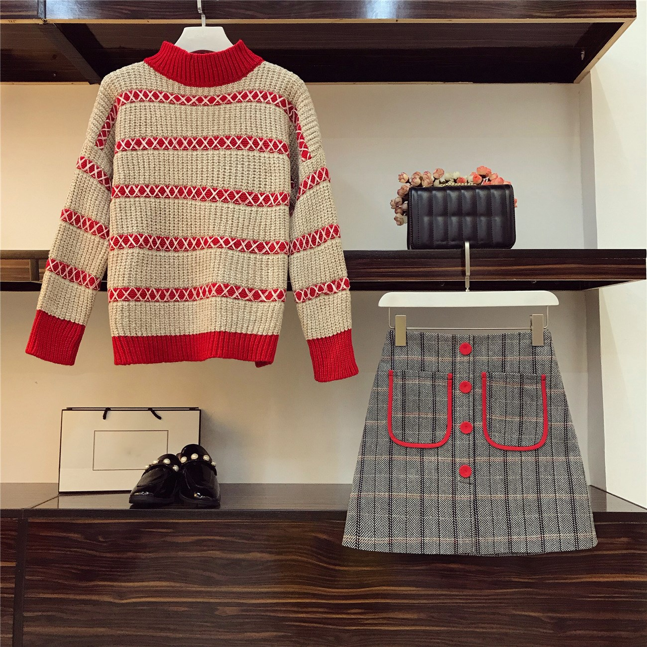 Women Knit Long sleeve Sweater Skirt Suits Women Sweet Pullover Knit Sweater Top A line Gird Skirt Women 39 s 2pcs Set in Women 39 s Sets from Women 39 s Clothing