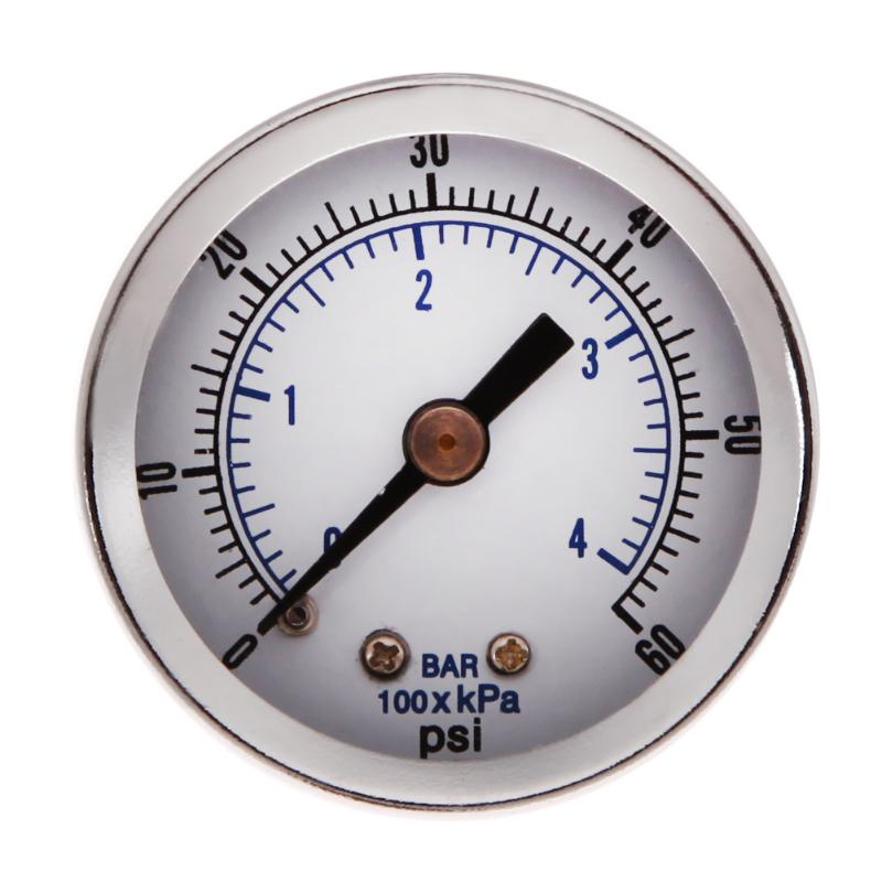 "Mini Air Compressor Pressure Gauge 1/8"" NPT Hydraulic Vacuum Gauge Pressure Tester 0-60 PSI Back Mount 1.5"" Dial Plate Manometer"