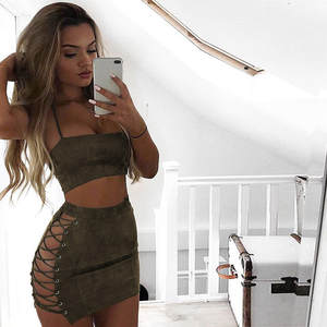 Women Set Pencil-Skirt Tube Party-Sets Crop-Tops Suede Summer Ladies 2pieces Bandage