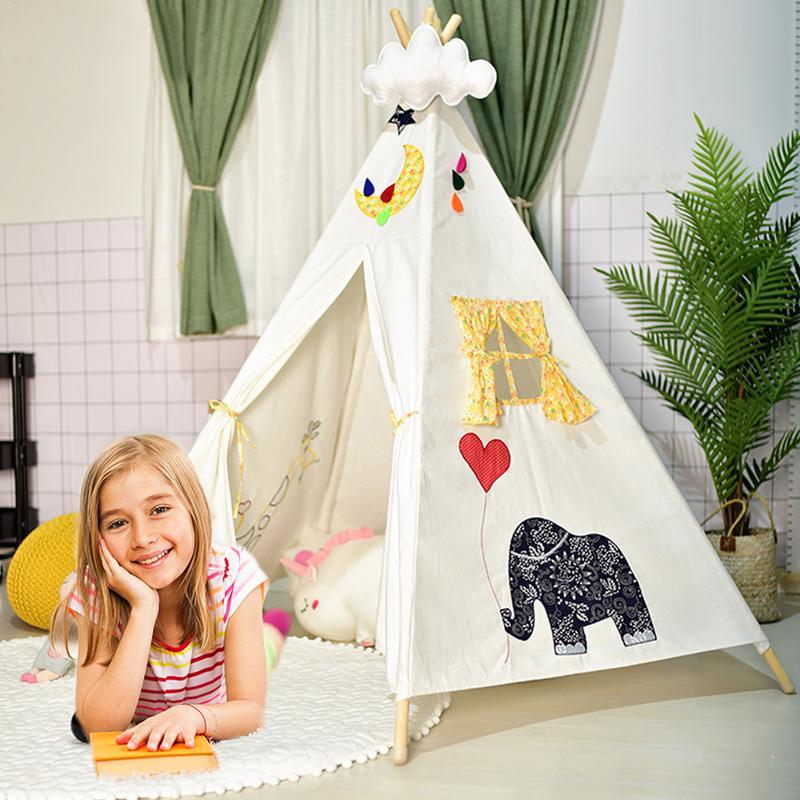 Grande toile de coton non blanchie Tipi Original enfants Tipi avec tente de jeu indienne blanche maison enfants Tipi tente