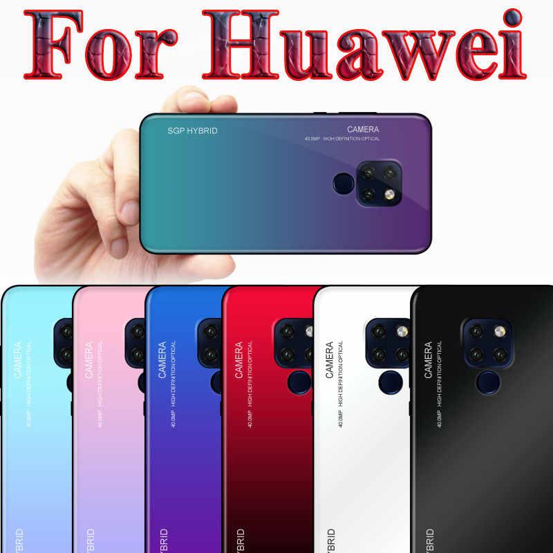 Gradient Aurora Tempered Glass Trường Hợp Đối Với Huawei Mate 20 P20 Lite Pro P10 Cộng Với Nova 3 tôi Honor 7A 8X9 10 Lite Bìa Shell Trường Hợp