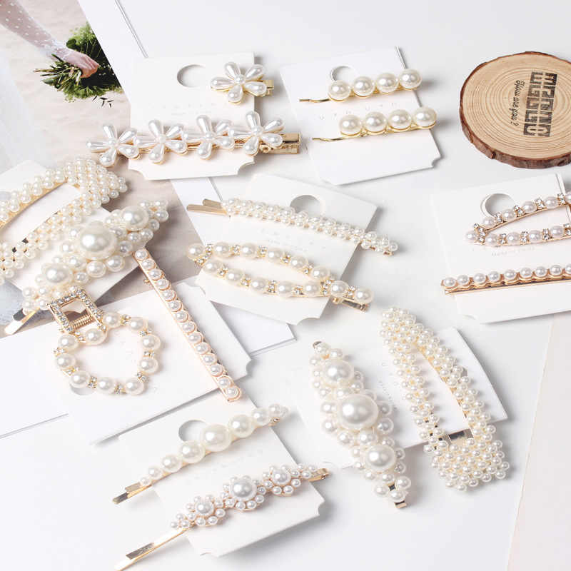 Hair Clips For Girls Metal Hairpins With Pearls Hair Pins Jewelry Accessories MP003