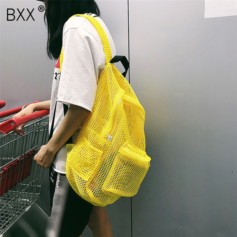 [BXX] 2020 Spring Summer New Stylish Yellow Red Color Double Straps Hollow High Capacity Light Zipper Backpack All Match LM672