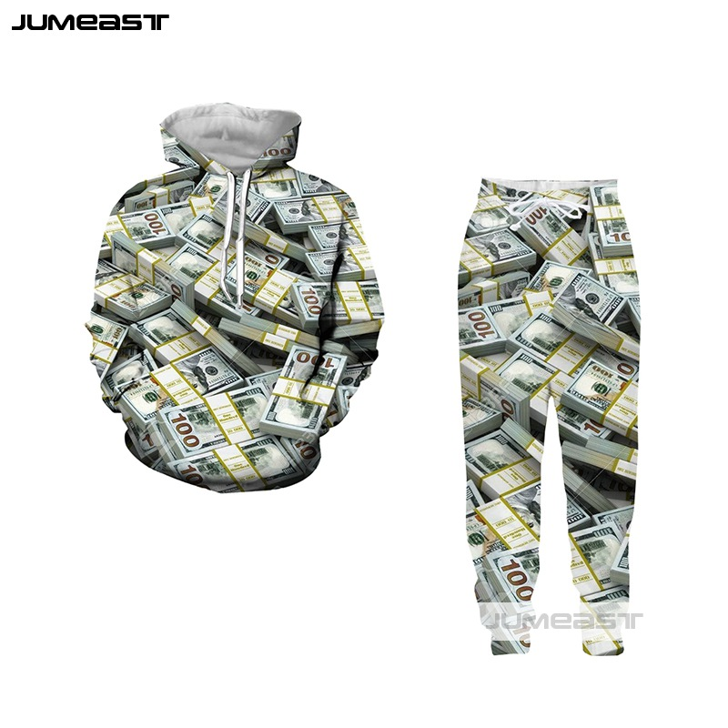 Jumeast Funny 3D Print Dollar Women/Men Hoodie Sweatshirt Many Money Vests Pans Set Suits Fashion Couples Sport Pullover Pants