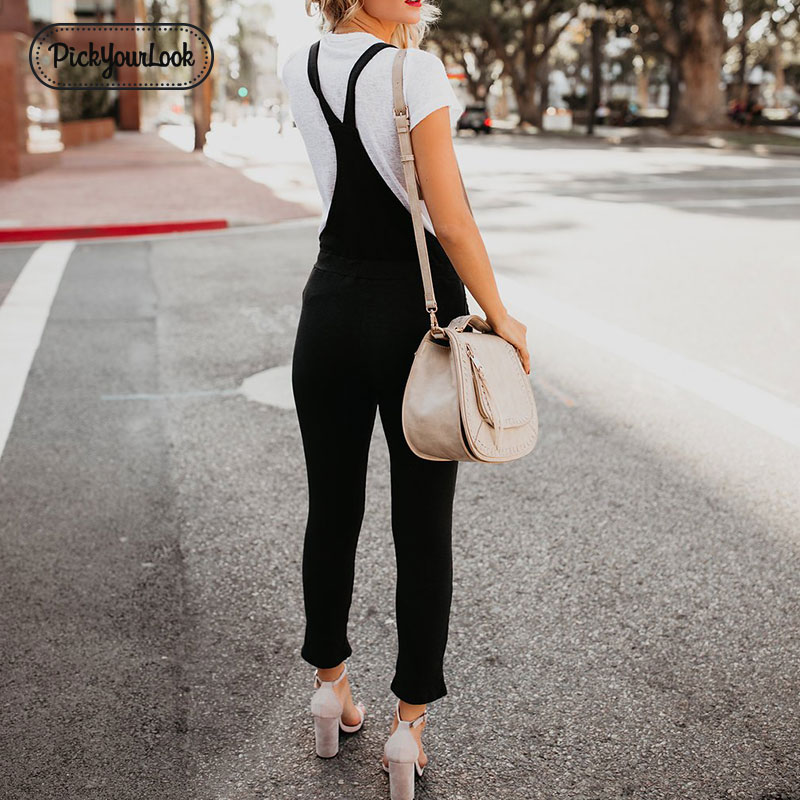 Pickyourlook Denim Overalls For Women Solid Black Fashion Belted Female Rompers Jumpsuit Streetwear Ladies Overalls Jeans