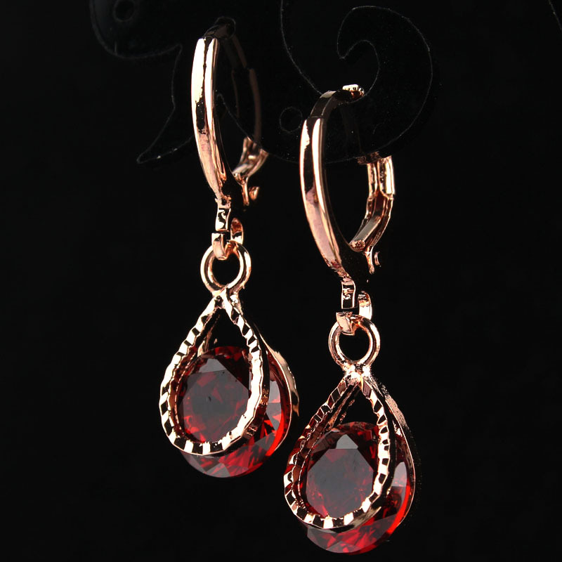 New Fashion Women/Girl's Rose Gold-color Red Garnet CZ Stone Crystal Pierced Drop Earrings Jewelry Gift Free shipping(China)