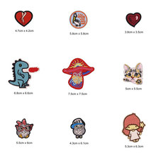 Heart Angle Dinosaur Patches Cap Shoe Iron On Embroidered Appliques DIY Apparel Accessories Patch Clothing Fabric Badges BU213(China)