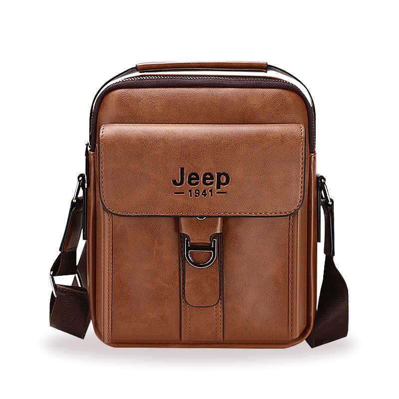 34a294c1b3b8 Большой емкости мужские сумки на плечо джип Брендовые мужские спилок через плечо  сумка высокого качества Деловые
