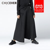 CHICEVER Winter Black High Waist Trousers For Women Pant Loose Big Size Elastic Flare Female Pants Fashion Casual 2018