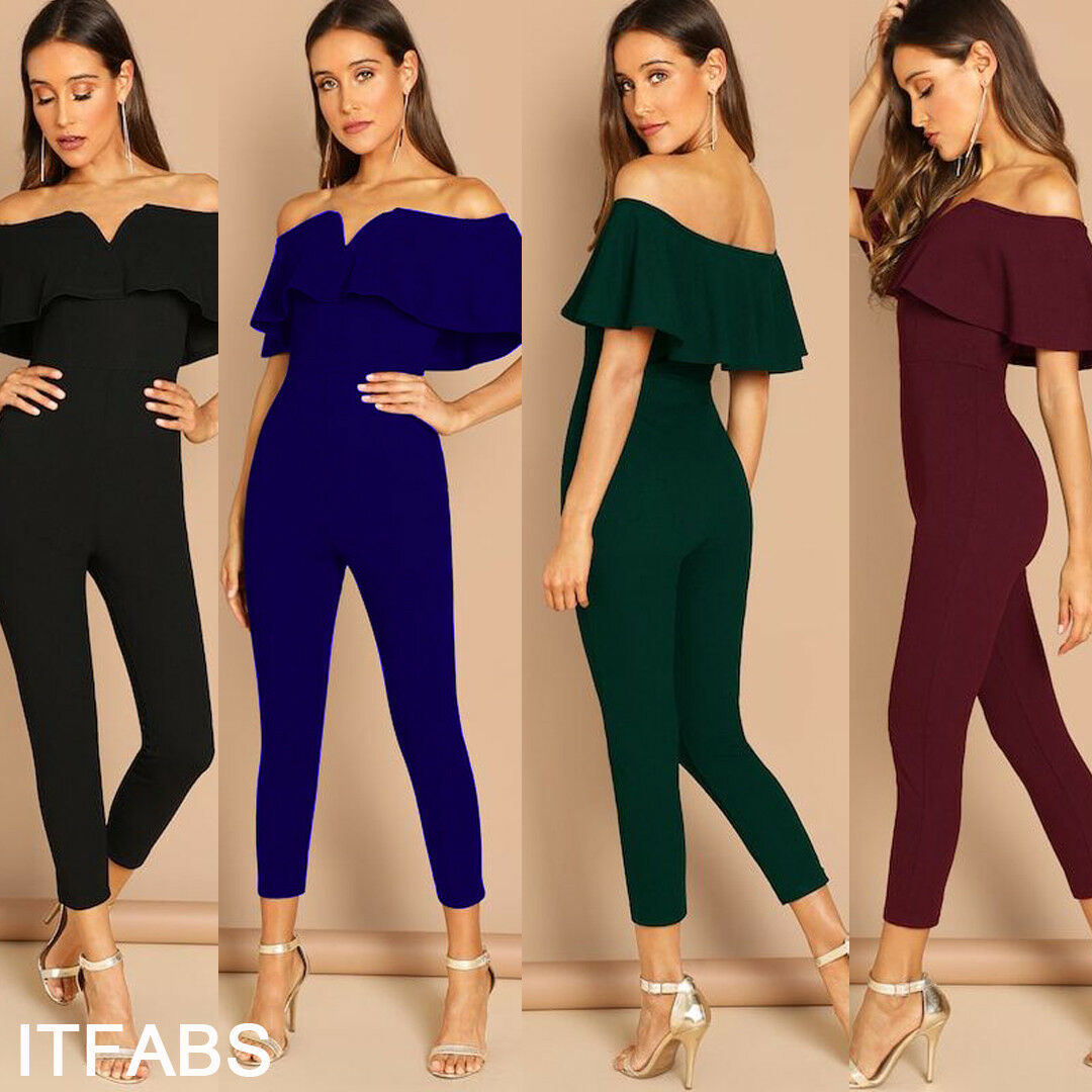Sexy backless off shoulder black Red Green Blue jumpsuit women Tiered ruffle high waist jumpsuit romper Female overall femme