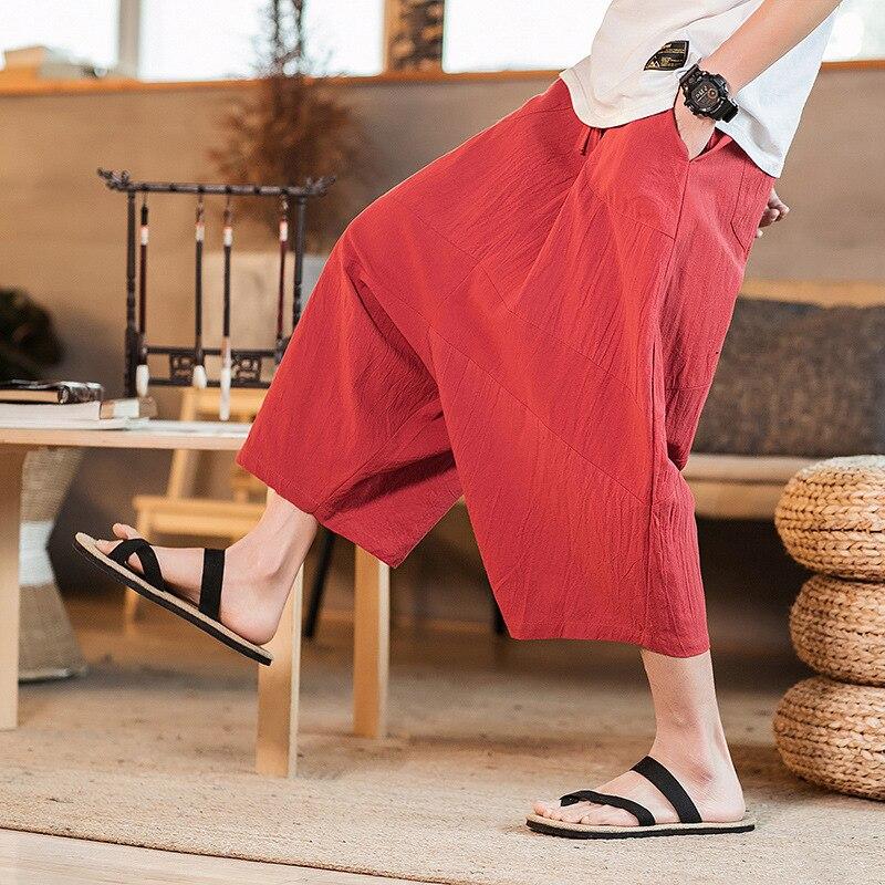 #4571 2019 Sommer Breite Bein Kimono Hosen Männer Leinen Plus Größe 5xl Rot Schwarz Hosen Baumwolle Leinen Retro Hosen Lose Männer Jogger