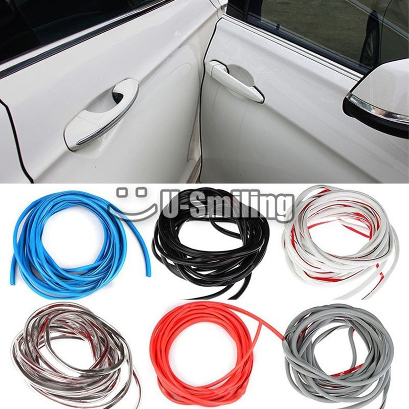 5M Car Door Strips Rubber Edge Protective Strips Side Doors Moldings Adhesive Scratch Protector Vehicle For Cars Auto