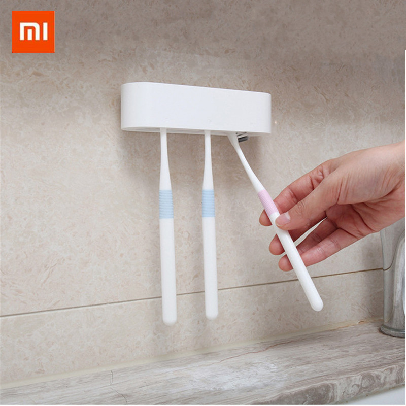 for Xiaomi Happy Life Bathroom storage Organizer <font><b>Toothbrush</b></font> Holder Wall Mount <font><b>Rack</b></font> Stand Adhesive Bathroom Products image