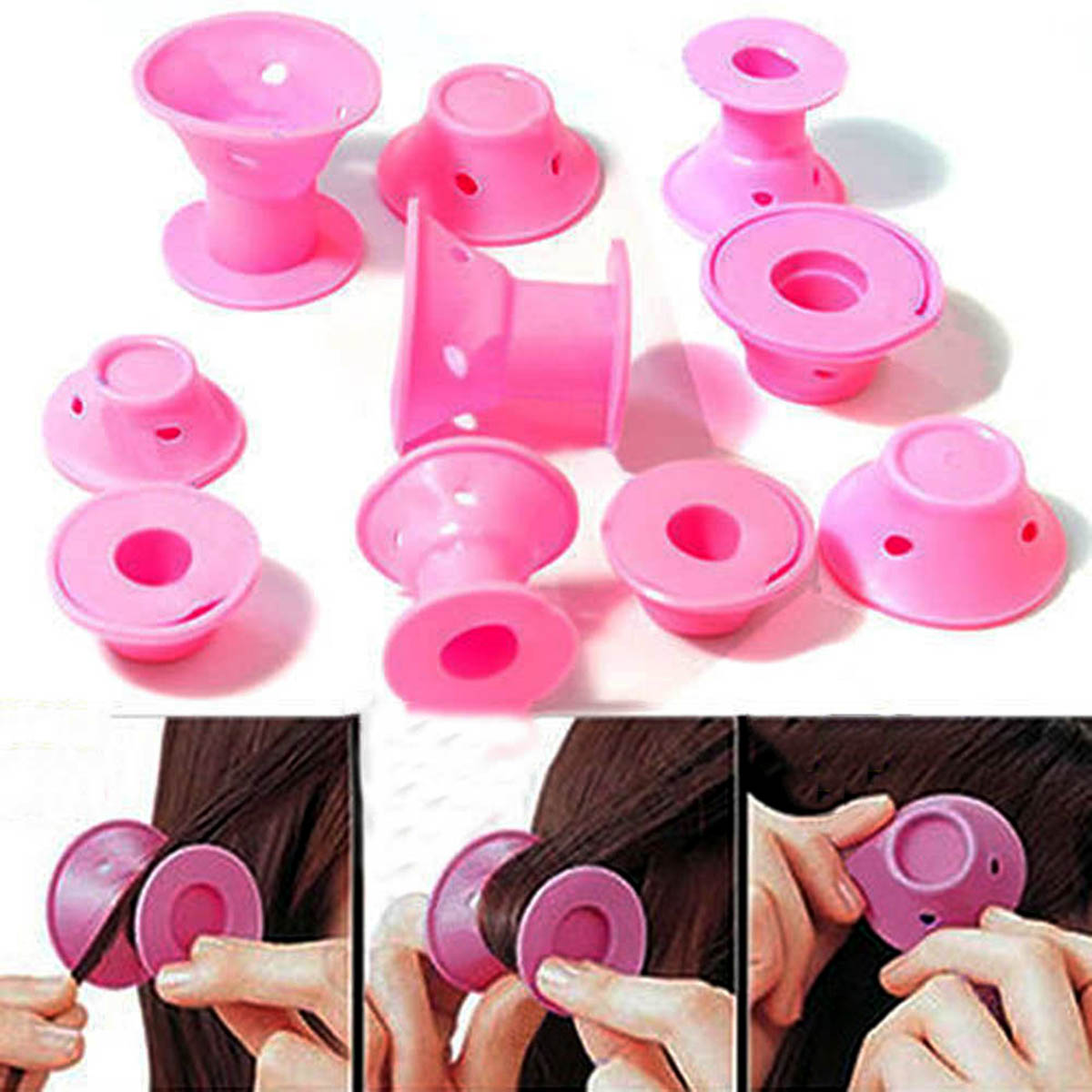 10pcs/set Soft Rubber Magic Hair Care Rollers Silicone Hair Curler No Heat Hair Styling Tool