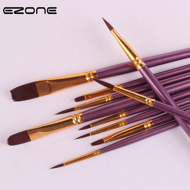 EZONE 10PCS Paint Brush For Watercolor Oil Painting Wooden Handel Nylon Hair Brush Gouache Acrylic Drawing School Office Supply