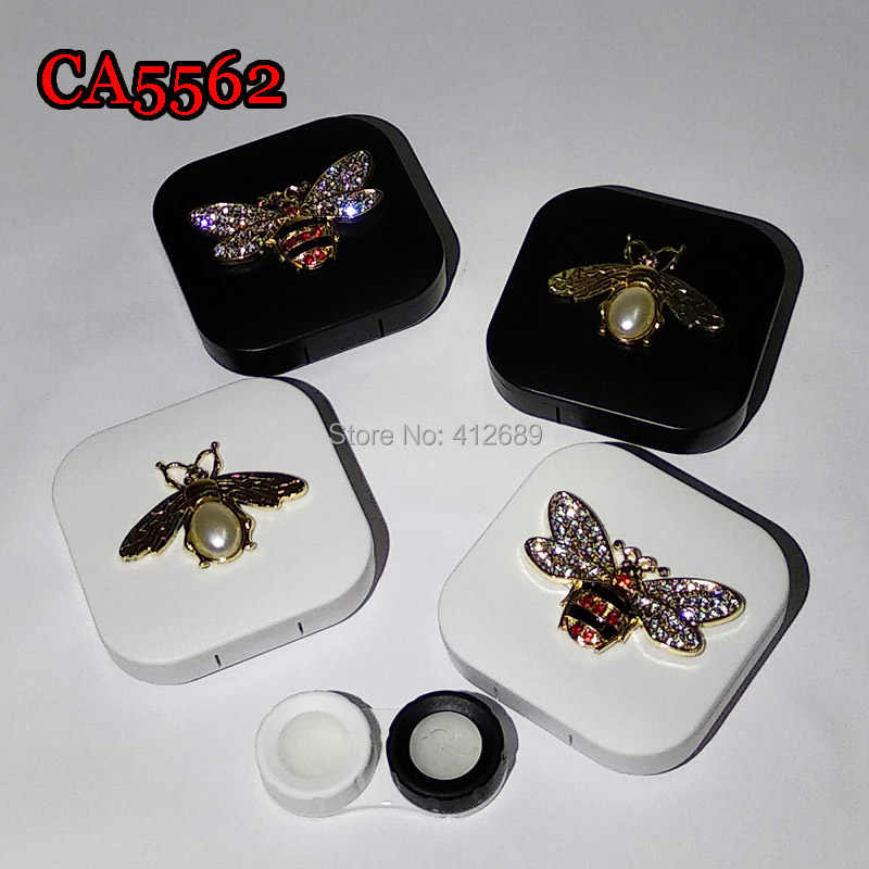 CA5562 luxury pear and diamond bee and beatles deco contact lens case