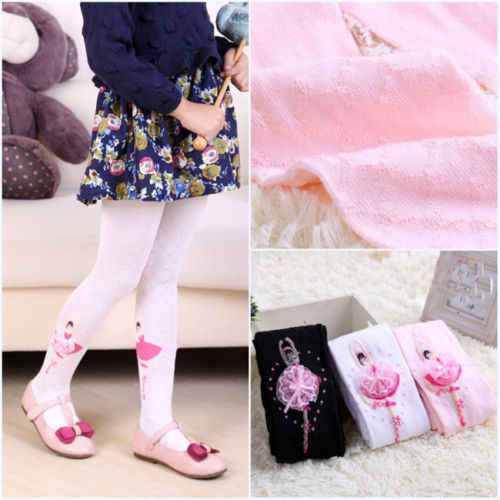 Bébé Enfant Fille Dentelle Fleur Coton Doux Long Chaussettes Stocking Collants Collants T3