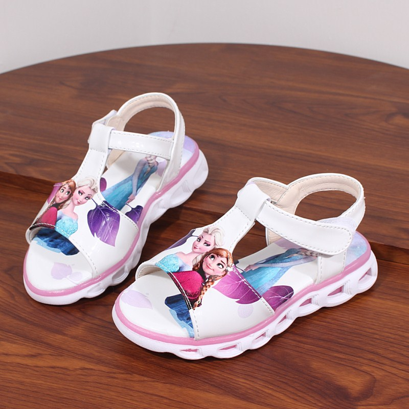 Image 3 - 2018  Elsa Sandals Princess Elsa Anna Shoes Print Cartoon Summer Toddler Girl Beach Shoes Ice Snow Queen New Fashion Girl sandalSandals   -