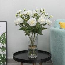 Simulated European-style three-headed Paeonia lactiflora spun silk flower home decoration wedding art office road introdu