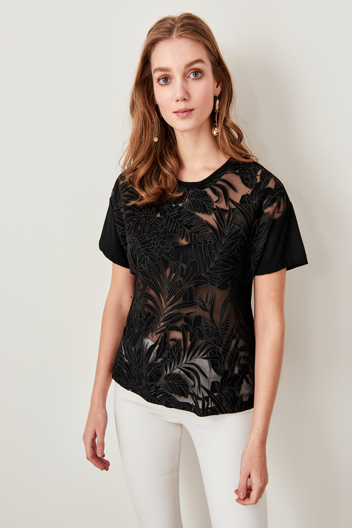 Trendyol Transparent Black Devore Fabric Knitting Tops TWOSS19FV0129