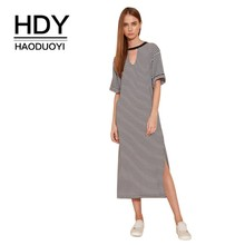 HDY Haoduoyi Clear Color Femme Dresses Simple Hot Black White Striped Sports Casual Hem Slit Dress Medium Summer Girls girls tassel hem striped dress