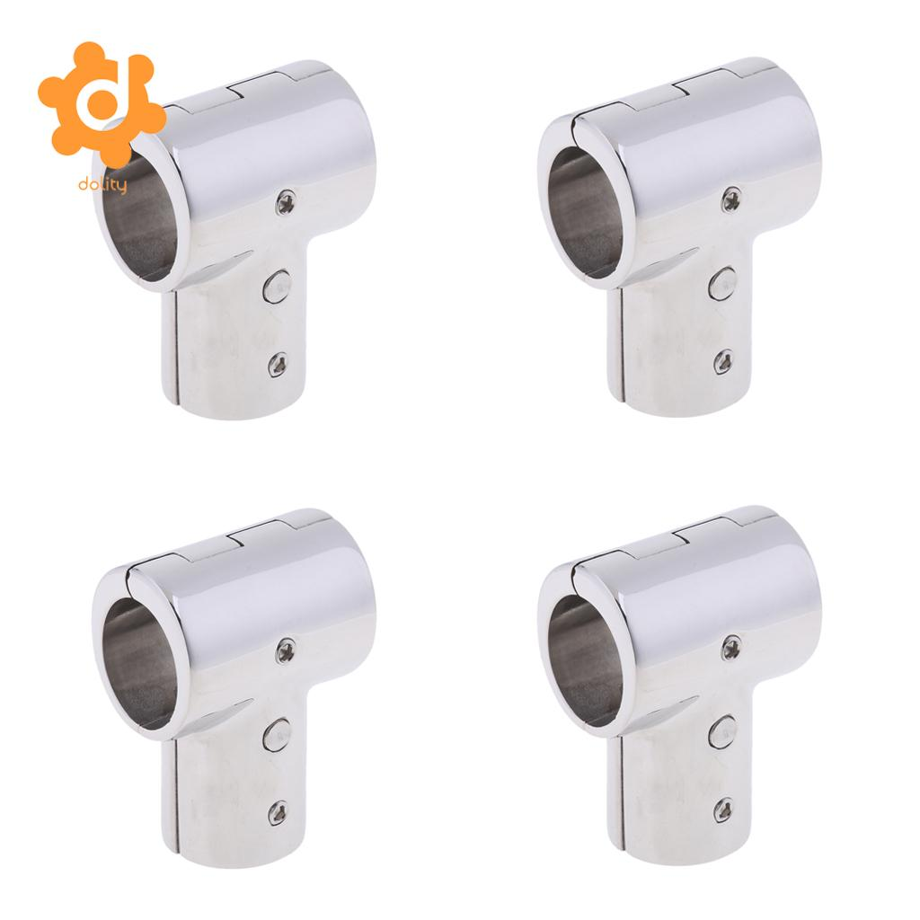 4Pcs 25mm Boat Handrail Fitting 90 Degree Tee 3 Way 316 Stainless Steel
