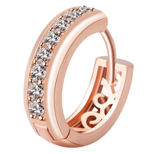 High Quality Luxury Elegant Rose Gold Crystal Hoop Earring Hollow Charms Earrings Fashion Jewelry Birthday Gifts For Women(China)