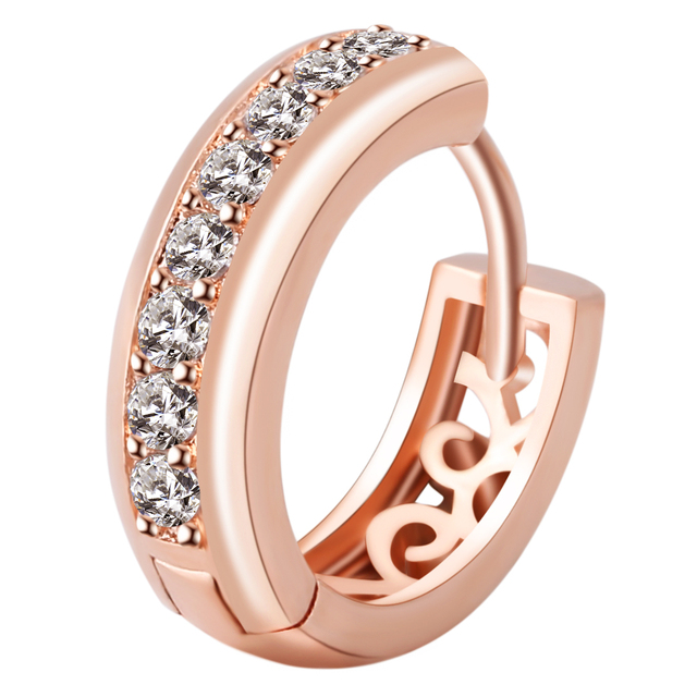 High Quality Luxury Elegant Rose Gold Crystal Hoop Earring Hollow Charms Earrings Fashion Jewelry Birthday Gifts For Women
