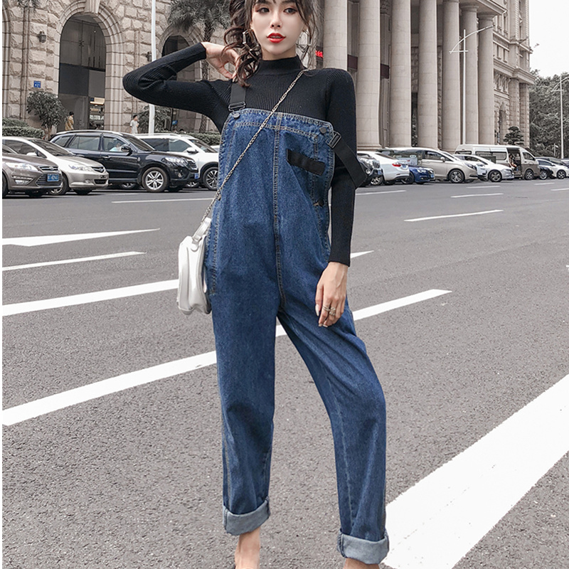 High Waist Korean Style Women Denim Jumpsuit 2019 Spring Autumn Overalls Side Buttons Design Loose Casual Jeans Rompers in Jeans from Women 39 s Clothing