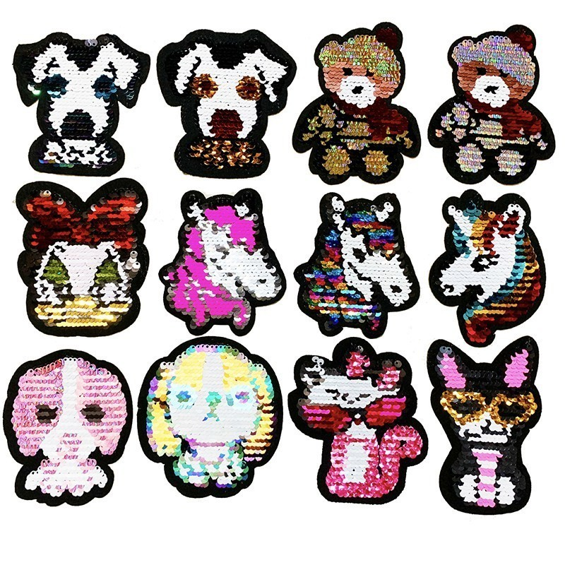 cat reversible sequined sew on patches for clothes diy sweater coat applique  X