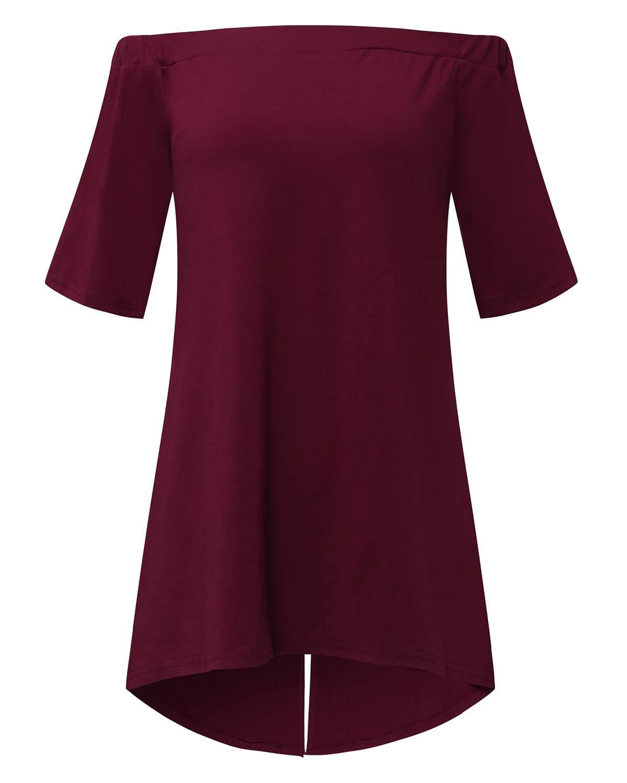 Casual Loose Solid Color Blouse Shirts Women 2019 ZANZEA Sexy Half Sleeve Slash Neck Off Shoulder Split Tops Shirts Plus Size XL