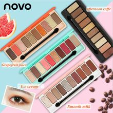 Novo 10 Colors Baked Milk Shimmer Matte Eyeshadow Metallic Earth Color Palette Cosmetic Makeup Nude Maquiagem