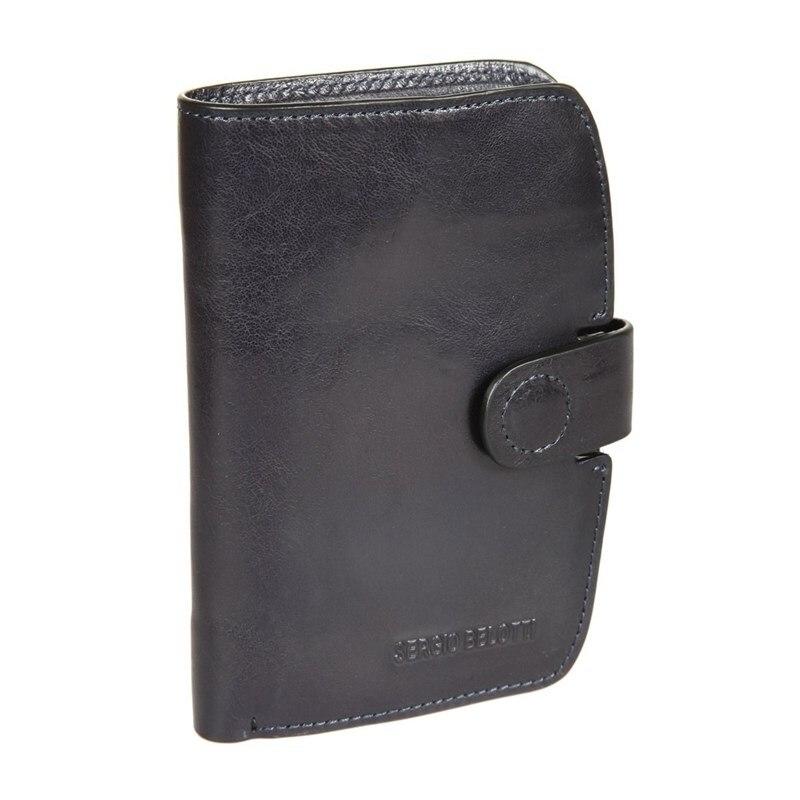 Wallets SergioBelotti 3560 IRIDO navy new fashion design pu leather men wallets card holder long wallet portable cash purses casual standard wallets male clutch bag
