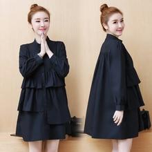 Korean Chic Plus Size Women Black Shirt Dress 2019 Casual Stand Collar Spring Ruffle High Waist Long Sleeve Mini 5XL