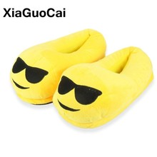 купить Women Home Slippers Emoji Cute Unisex Winter Warm Cartoon Plush Slippers Indoor Furry Cotton Couple Shoes Soft Yellow Hot Sale в интернет-магазине