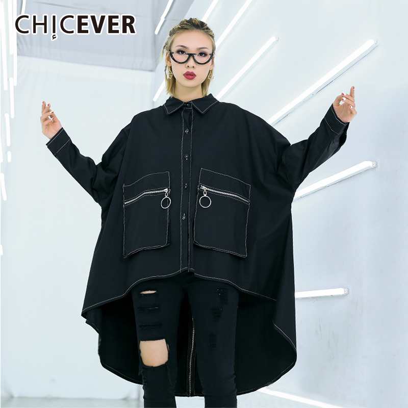 CHICEVER Spring Female For Blouse Lapel Batwing Sleeve Patchwork Pockets Button Letter Women Shirt Blouses Loose