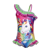 AmzBarley Girls Rainbow Unicorn Swimsuit Toddler Ruffle One Shoulder Swimwear One Piece Bathing Suit Rainbow Swimming Bikini girls unicorn print ruffle trim swimsuit