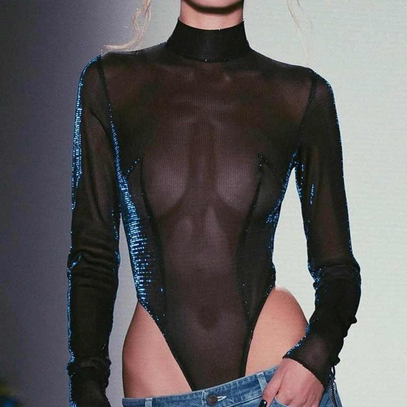 MisDream Блестящий женский костюм с сеткой длинный рукав Женское боди Кружевное боди Черный комбинезон короткий прозрачный сексуальный боди