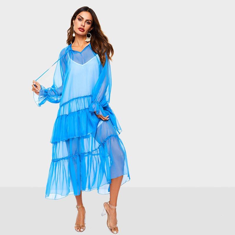 Été 2019 mode longue robe femmes Boho Sexy maille voir à travers volants dames décontracté plage voyage vacances lâche Maxi robes