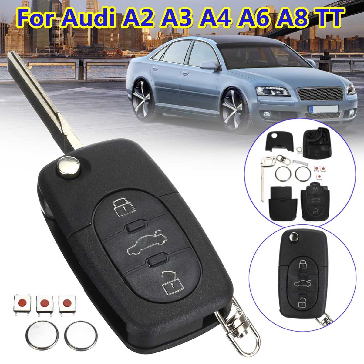 Audi A2 A3 A4 A6 A8 TT 3 Button Remote Key Fob Case Service Repair Kit