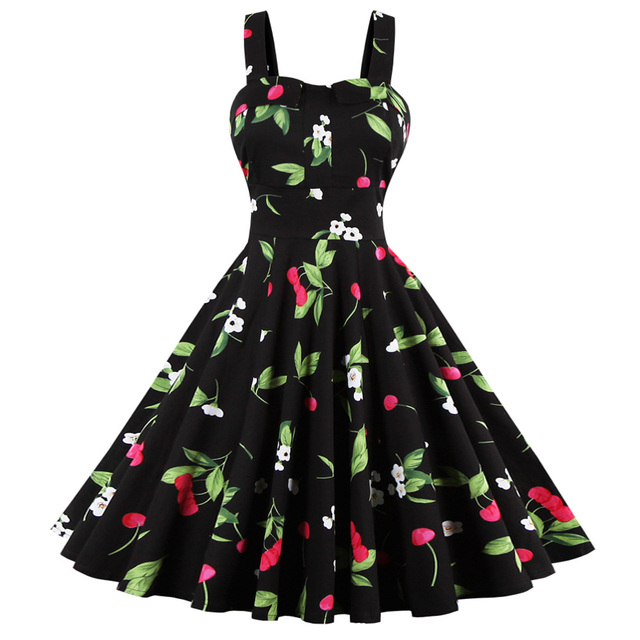 Wipalo Cherry Print Vintage Women Sleeveless U-Neck Cotton A-line Party Dresses