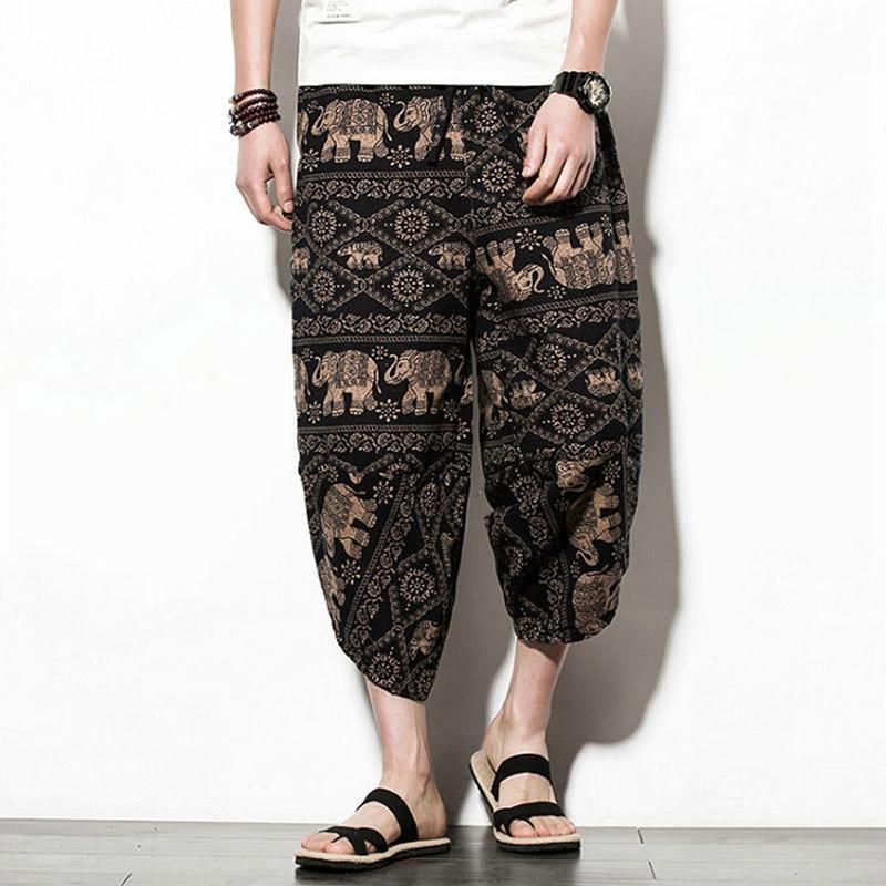 #4573 Summer Vintage Floral Print Cotton Linen Shorts Men Plus Size 5XL Loose Retro Linen Beach Shorts Japanese Streetwear