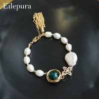 Eilepura Natural Fresh Water Baroque Pearl Glaze Adjustable Bracelet For Women Bride Wedding Party Gift Fine Jewellery B A002