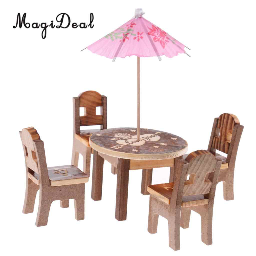 Set Of 6pcs Wooden Mini Table Chair