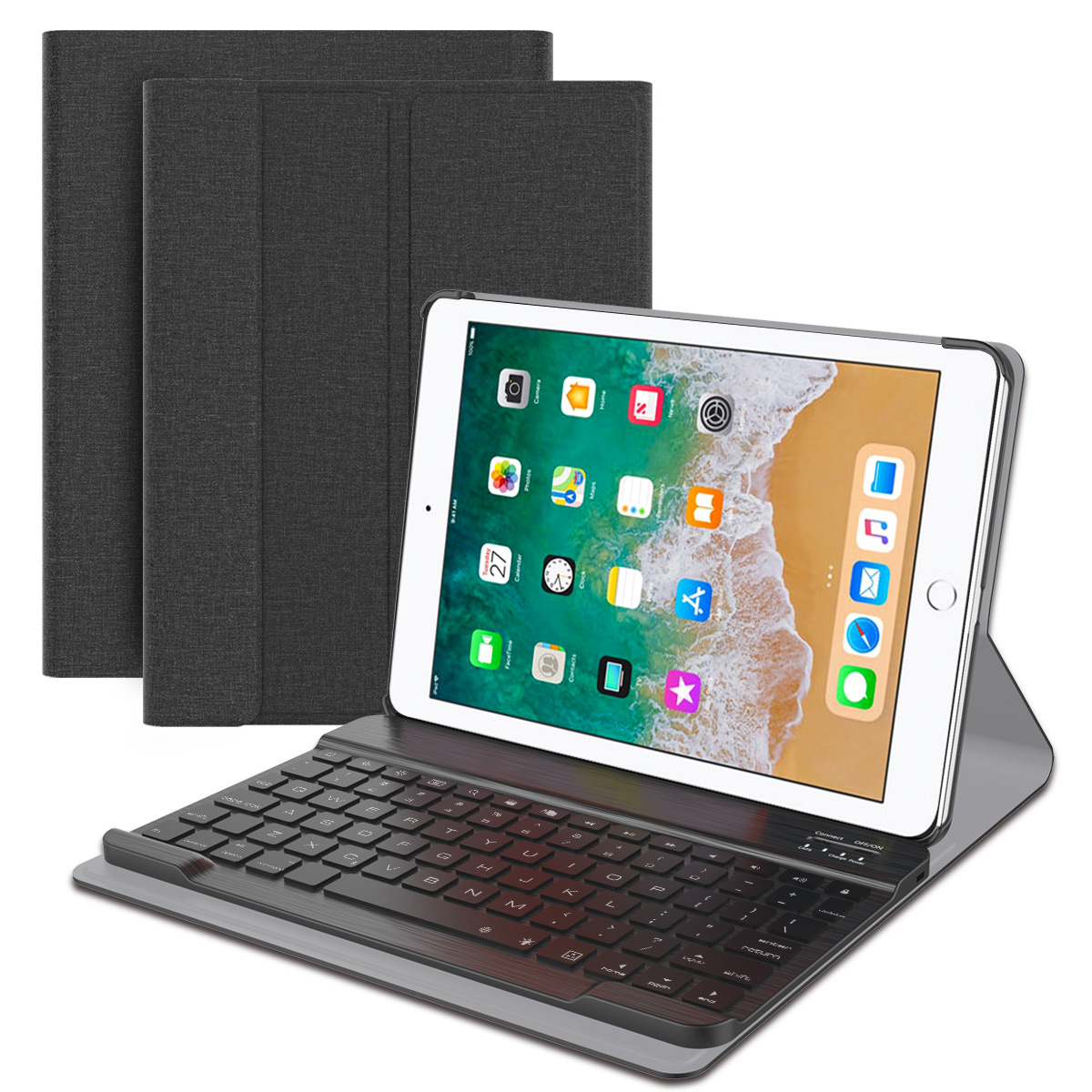 For iPad 9.7 Inch 2018 Case with Wireless USA Keyboard Tablet Leather Flip Stand