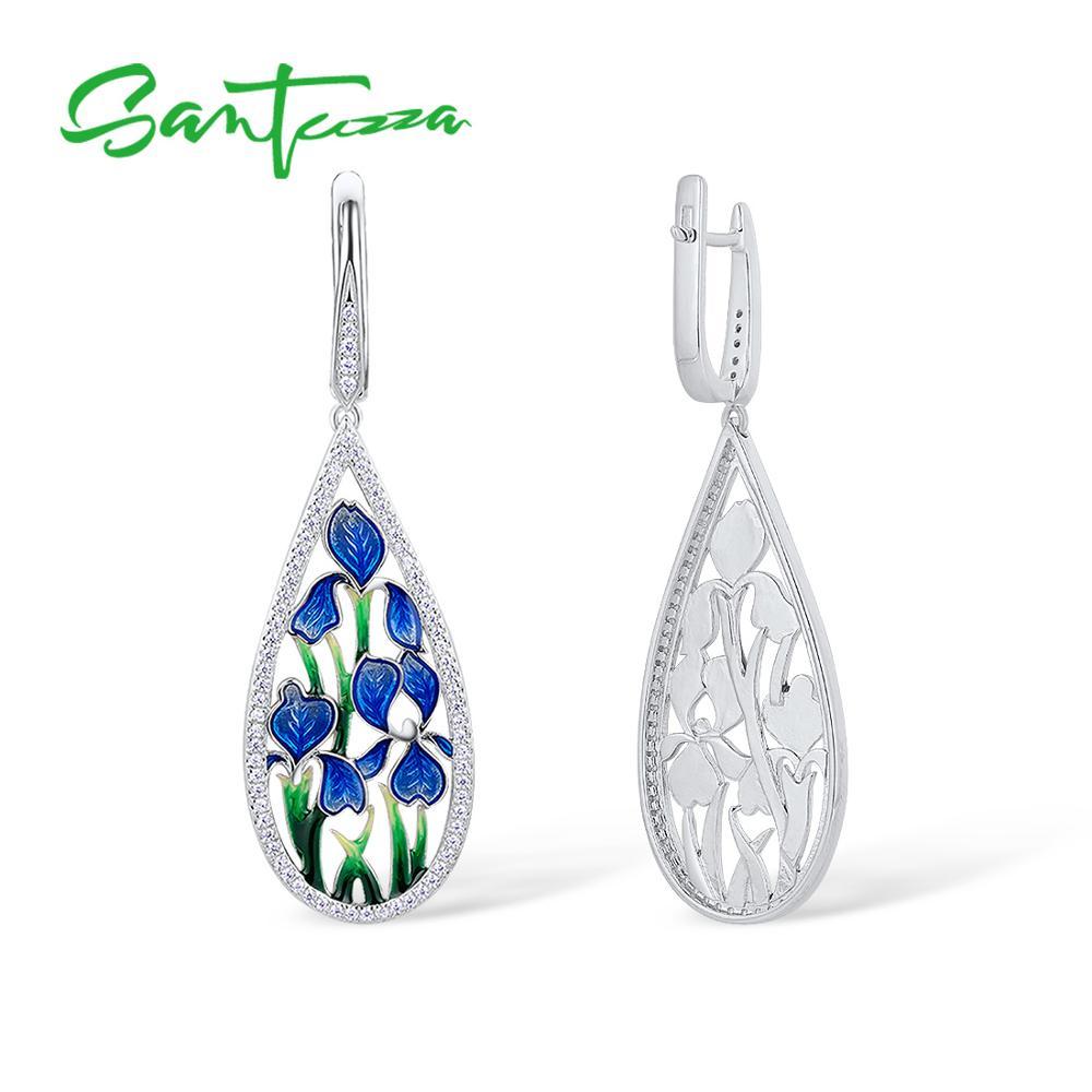 Image 2 - SANTUZZA Silver Flower Earrings For Women 925 Sterling Silver  Dangle Blue Petal Earrings Silver Shiny CZ Jewelry Handmade EnamelDrop  Earrings
